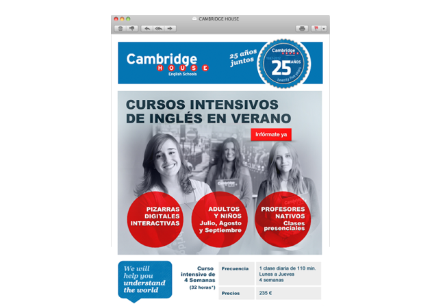 Diseño newsletter Cambridge House