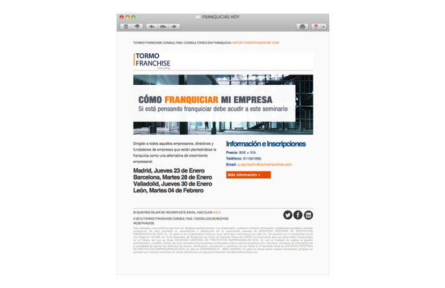 Diseño newsletters Tormo Franchise